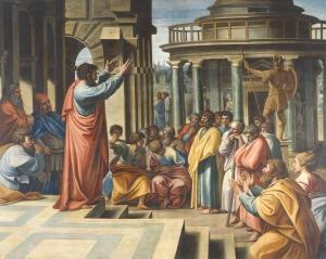 Paulus Verkondigt de Opstanding aan de Grieken (Hand. 17:31)